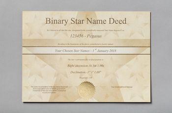 Star name registry binary star certificate