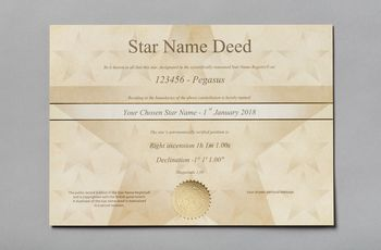 Star name registry standard star certificate