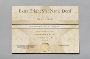 Star name registry extra bright star certificate